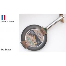 Poêle acier De Buyer  prof.  manche inox