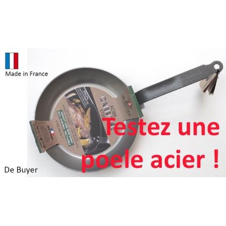 """Poêle acier   """"Carbone +""""    manche plat"""