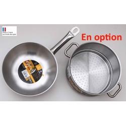 Sauteuse wok avec panier vapeur en option
